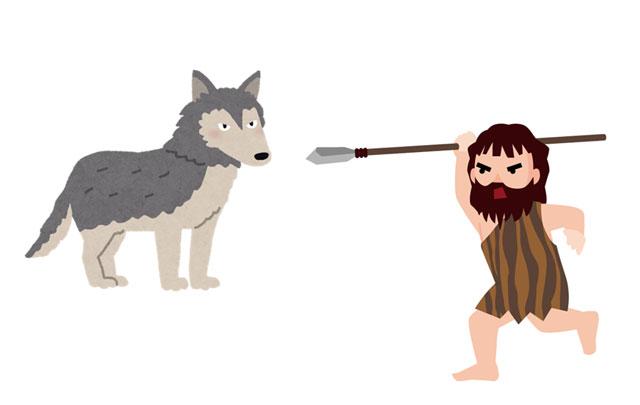 オオカミと戦う原始人